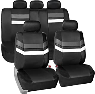 FH Group Leather Full Set Seat Covers Gray Airbag Safe PU006GRAY115 & Split Bench Ready