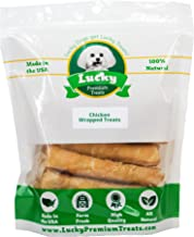 Lucky Premium Treats Chicken Wrapped Rawhide Dog Treats, All Natural Gluten Free Dog Treats for Medium Dogs, Made