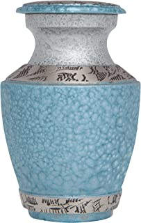 Mini Keepsake Urn • Miniature Funeral Cremation Urn fits Small Amount of Ashes • Blue Eagle Flag Cremation Urn - Azure Model • 3 inches Tall