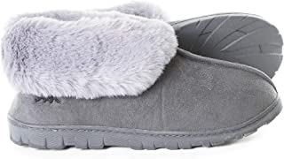 Women's Micro Suede Faux Fur Fleece Lined Cozy 80-D High-Density Memory Foam Winter Slipper Bootie Breathable House Shoes with Non Skid Indoor Outdoor Sole