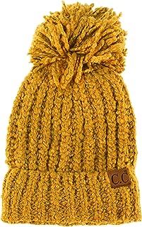 Winter CC Soft Chenille Pom Pom Warm Chunky Stretchy Knit Beanie Cap Hat Black