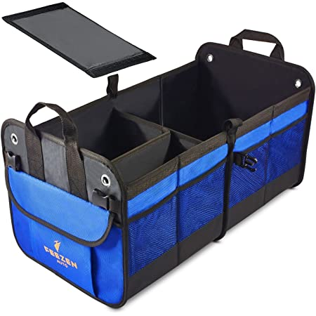 Feezen Car Trunk Organizer Best for SUV, Vehicle, Truck, Auto, Minivan, Home - Heavy Duty Durable Construction Non-Skid Waterproof Bottom (Blue)