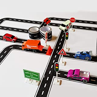 PlayTape TinyTown Town Square Play Tape - Roads, Vehicles, Signs, Road Tape, Kids Toys, for Ages 3+ Easy to Uses, Quick Cl...