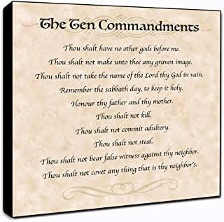 "LACOFFIO The Ten Commandments Wall Art Spiritual Décor Plaque 6"" x 6"