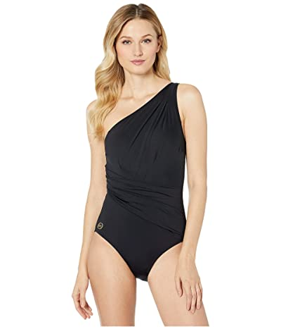 MICHAEL Michael Kors Solids One Shoulder Shirred One-Piece (Black) Women