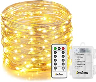 Homestarry Fairy Lights String Lights 6 AA Battery Operated Waterproof 8 Modes Silver Wire with Remote for Outdoor Garden Patio Party Christmas, 33 ft 132 LEDs, Warm White