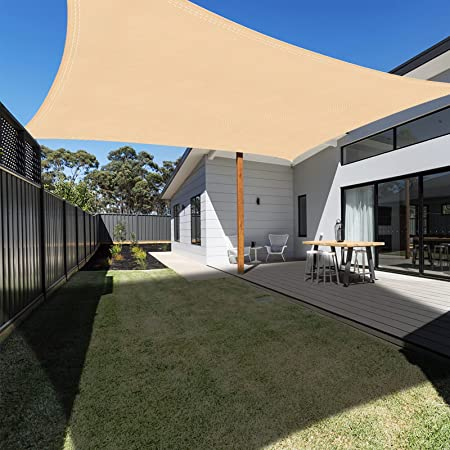 Ankuka Voile d'ombrage Rectangulaire 4x3, Auvent Imperméable UV Protection pour Jardin Terrasse Extérieur Patio Piscine avec Corde Libre (Champagne)