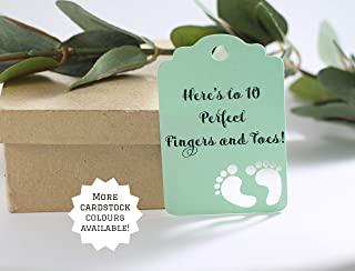 Light Green Baby Shower Favor Tags - Neutral Thank You Favor Tags - Here's to 10 Perfect Fingers and Toes! (Set of 20)