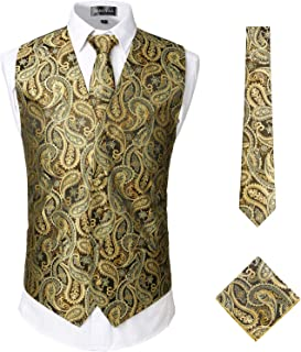Mens Classic 3pc Jacquard Paisley Vest Set Necktie Pocket Square Waistcoat for Suit or Tuxedo