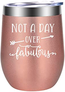 Not a Day Over Fabulous - Birthday Gifts for Women - Funny Birthday Wine Gifts for Friends Female, Mom, Wife, Daughter, Gr...