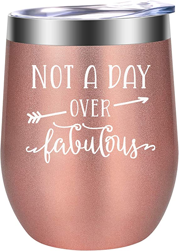 Not A Day Over Fabulous Fun Birthday Gifts For Women Funny Birthday Wine Gift Ideas For Her Best Friend BFF Mom Grandma Wife Daughter Sister Aunt Coworker LEADO Birthday Wine Tumbler