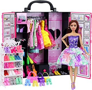 Ecore Fun Fashion Doll Closet Wardrobe for Doll Clothes and Accessories Storage - Lot 52 Items Include Clothes, Dresses, S...