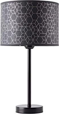 BRILLIANT Galance Table Lamp Large Black Interior Lamps Decorative | 1 x A60, E27, 40 W, Suitable for Normal Lamps (not Included) | A++ | Elegant Textured Shade Made of Real Vinyl Wallpaper