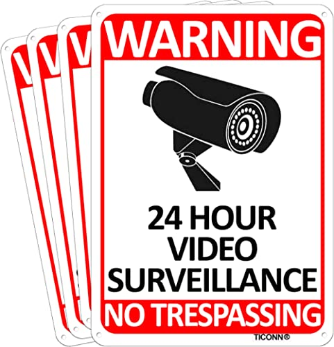 TICONN 4-Pack 24 Hour Video Surveillance Sign, No Trespassing Aluminum Warning Sign, 10''x7'' for CCTV Security Camer...