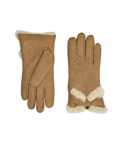 UGG Water Resistant Sheepskin Turned Bow Gloves (Chestnut) Extreme Cold Weather Gloves