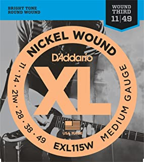 D'Addario EXL115Wx5 (5 sets) Electric Guitar Strings, 3rd String Wound, Nickel, Round Wound, Blues/Jazz Rock (.011-.049)