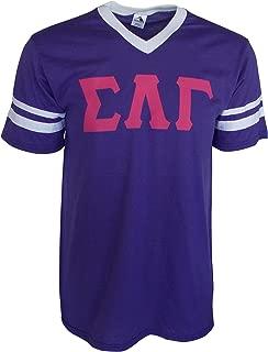 Mega Greek Womens Sigma Lambda Gamma Stripe Sleeve Jersey Large Purple