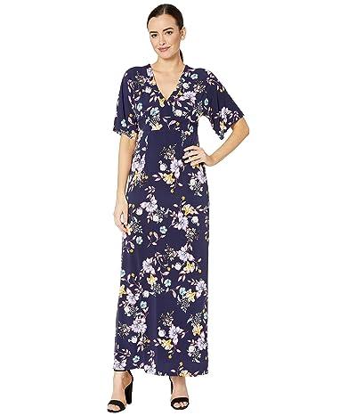 Donna Morgan 3/4 Flutter Sleeve V-Neck Mixed Print Jersey Maxi Dress (Navy/Lilac Multi) Women