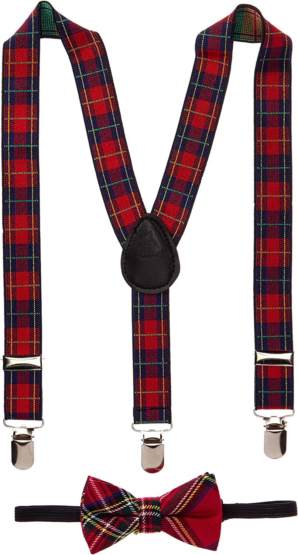 Toddler Kids Boys Girls Child Suspender Bow Tie (Blue/Red Stripe)
