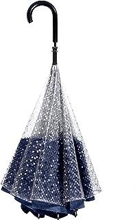 【CARRY saKASA (キャリーサカサ) Public Model (パブリックモデル)】 逆折り式傘 濡れない 逆さ傘 長傘 逆さま傘 自立式 耐風 (白透明ドット/紺)