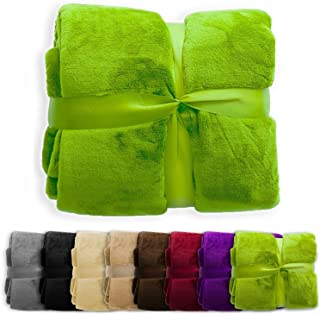 casa pura Fleece Throw Blanket | Plush Blanket Throw for Couch or Queen Size Bed | Super Soft & Cozy Fur Blankets | Various Sizes and Colors | Apple Green - 86