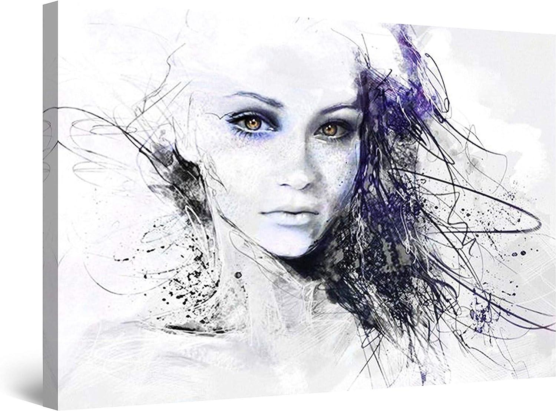 PICMA Frau Leinwandbild leuchtend im Dunkeln modernes abstraktes Bild Portrait Mdchen Gesicht I Wohnzimmerbild Wohnzimmerdeko Wandbild XXL Wohnzimmer I 1 Bild Leinwand Frau fluoreszierend 80x120cm