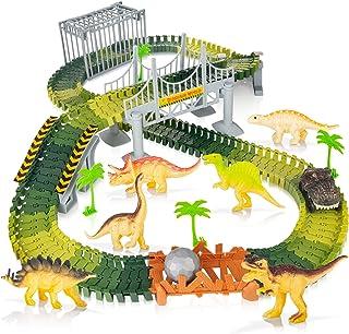 Batlofty Dinosaur Toys Race Car, 168 Pcs Flexible Tracks Playset, Create A Dinosaur World Road with 1 Battery Operated Car...