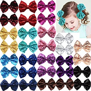 Party Festival Baby Girls Sparkling Bows Clips-30 Piece Glitter Sequins 4