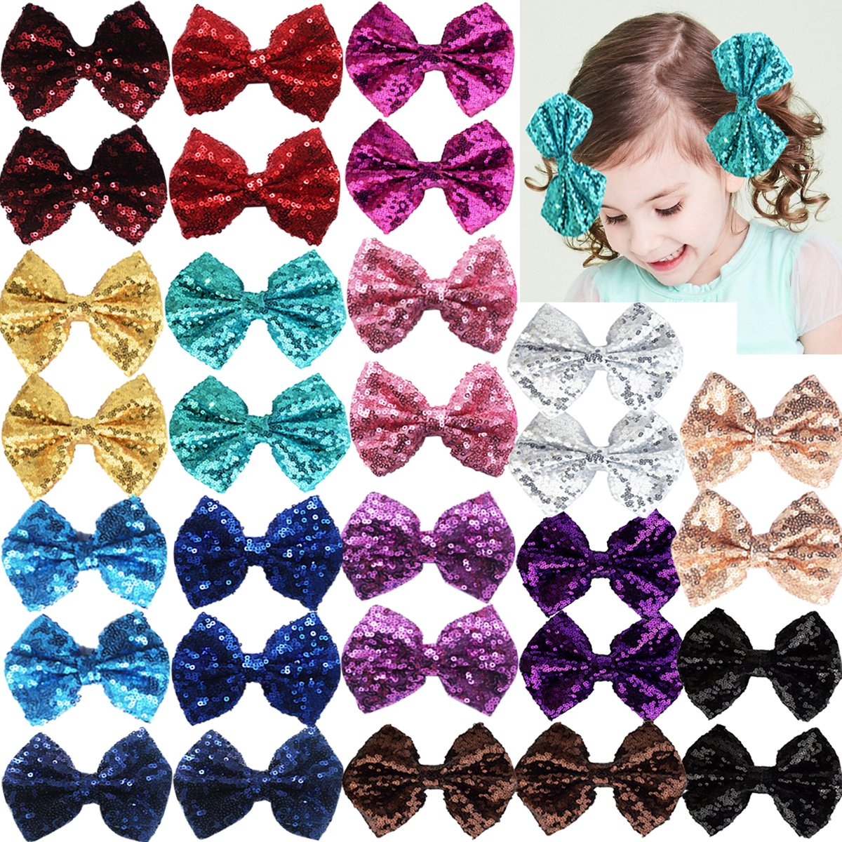 Party Festival Baby Girls Sparkling 30 4 years warranty Reservation Clips Glitter Piece Bows