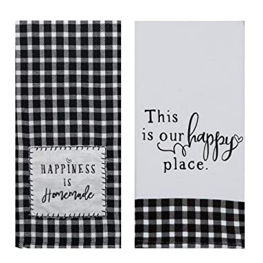 18TH STREET GIFTS Farmhouse Kitchen Towels, Set of 2 Black and White Buffalo Plaid Tea Towels