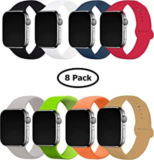 8 Pack Band for Apple Watch 42-44mm, Soft Silicone Sport Strap Replacement Bracelet Wristband for Apple Watch Series 5,4,3,2,1, Nike+, S/M Size