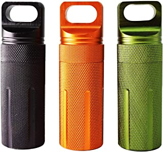 PPFISH Military Grade Air-Tight EDC Accessory Case, Waterproof Pill Fob Capsule/Match Case Battery Holder Case, Outdoor Survival Storage Container Dry Box (Pack of 3)