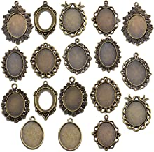Antique silverbronze cabochon settings 2518mm oval cameo base settings hook on the back with lover birds PTO28-A1163