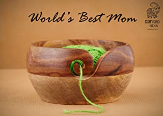 Mother's Day Special Wooden Yarn Bowl for Knitting and Crochet, Large Size 6