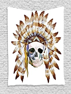 Ambesonne Skulls Decorations Collection, Native American Skull Indigenous Dead Man Watercolor Image with Feathers Ethnic, Bedroom Living Room Dorm Wall Hanging Tapestry, Brown White