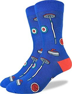Good Luck Sock Men's Curling Crew Socks - Blue, Adult Shoe Size 7-12