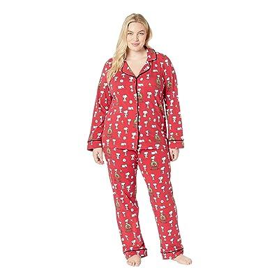 BedHead Pajamas Plus Size Long Sleeve Classic Notch Collar Pajama Set (Snoopy