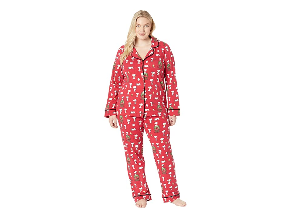 BedHead Plus Size Long Sleeve Classic Notch Collar Pajama Set (Snoopy