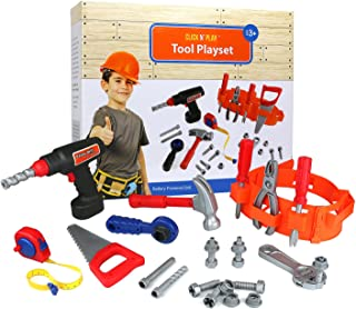 Click n' Play 23 piece Kids Pretend Play Real Working Toy Tool Set Includes Powered Drill, Hammer, Saw, Tape Measure, Tool...