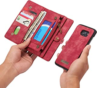 RAYTOP [Magnetic Removable Phone Case] + [11 Card Holders] + [4 Large Pockets] PU Leather Wallet for Samsung Galaxy S7 Edge [Magnet + Zipper + Button Closure] Dark Red Color Large Capacity Premium