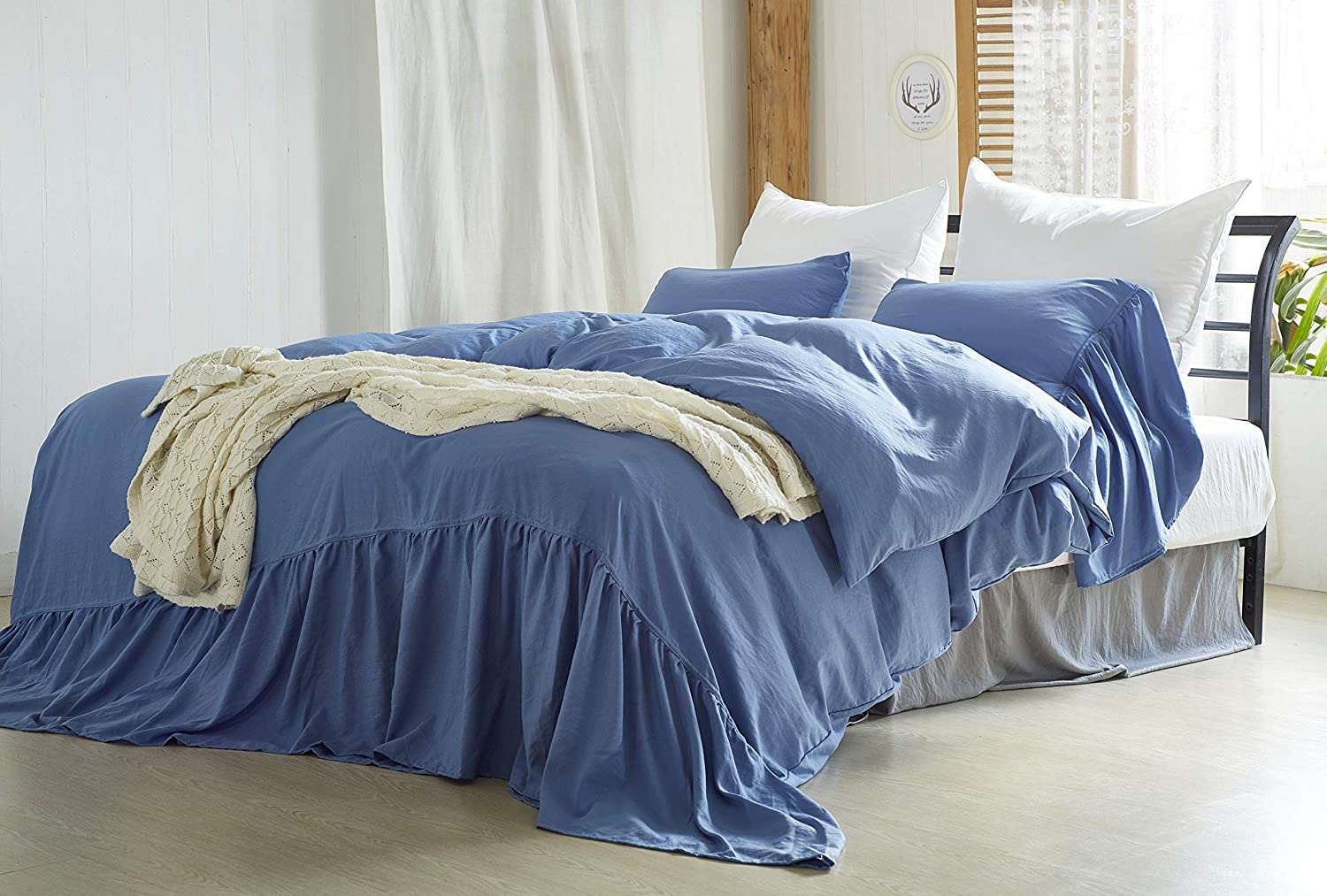 LELVA Ruffled Duvet Cover with Popular brand in the world Pillow Free shipping Piece Shams Vintage Blue 3