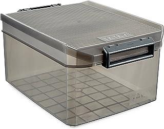 Tatay 1150114 Caja de Almacenamiento Multiusos con Tapa, 14 l de Capacidad, Plástico Polipropileno Libre de BPA, Marrón Translúcido, 27 x 39 x 19 cm