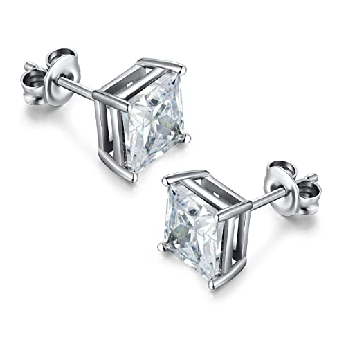 Square Cut Cubic Zirconia Earrings Amazon Co Uk