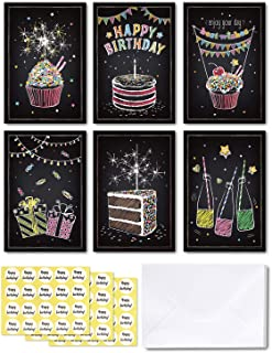 48-pack Happy Birthday Cards, Ohuhu Black Folded Card for Kids Birthday, Blank Inside Greeting Note Cards W/White Envelopes and Stickers, 4x6 Inch, Candle, Cake, Gift, Spark Designs Card Stocks
