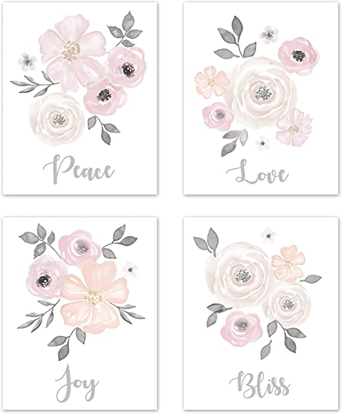 Sweet Jojo Designs Blush Pink Grey And White Love Peace Joy Bliss Wall Art Prints Room Decor For Baby Nursery And Kids For Watercolor Floral Collection Set Of 4