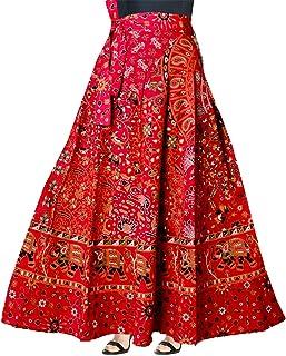 4e2f769287c9 Trendy Fab Women's Cotton Wrap-Around Long Skirt with Prints (SKT_153,  Multicolour,