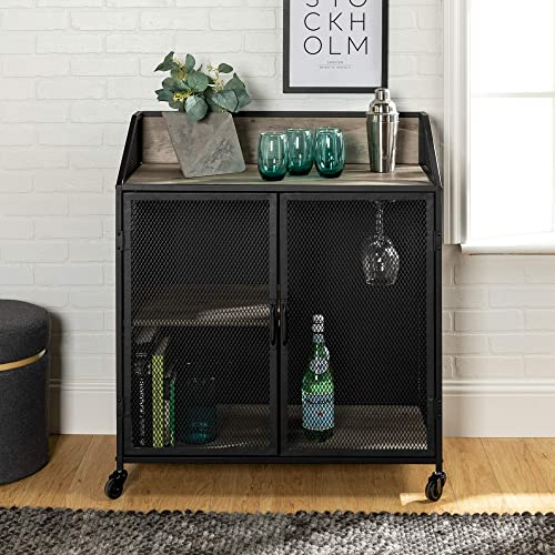Walker Edison Furniture Company Industrial Wood and Metal Bar Cabinet with Wheels Wine Glass and Bottle Kitchen Stora...