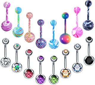 10-20Pcs 14G Stainless Steel Belly Button Rings for Women Girls CZ Screw Navel Bars Body Piercing Jewelry