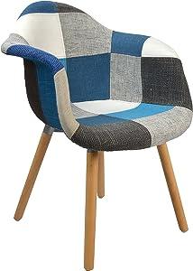 ts-ideen Design Classico Patchwork Sedia da bar Poltroncina Retro Anni 50 Soggiorno Ufficio Cucina Sala da pranzo Legno blu colorato