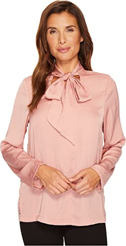 B Collection by Bobeau Alaia Floral Tie Neck Blouse